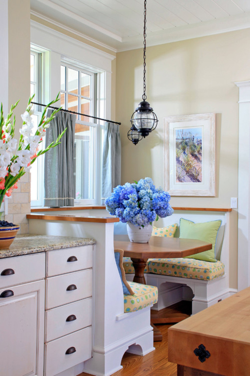 A banquette seating is a cozy spot for a quick breakfast or the Sunday newspaper and a cup of coffee