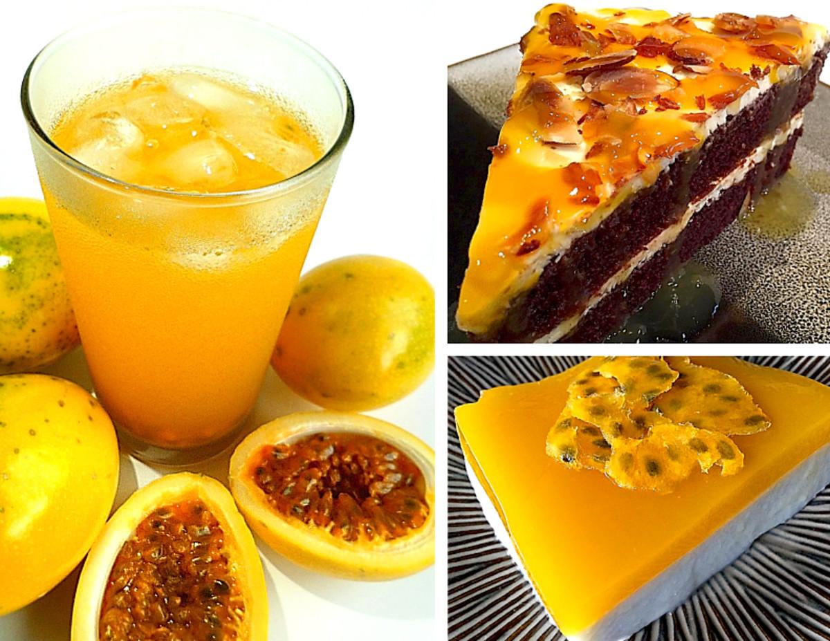 Clockwise from left: Refreshing liliko'i lemonade; chocolate liliko'i mousse cake; and liliko'i coconut haupia pudding.