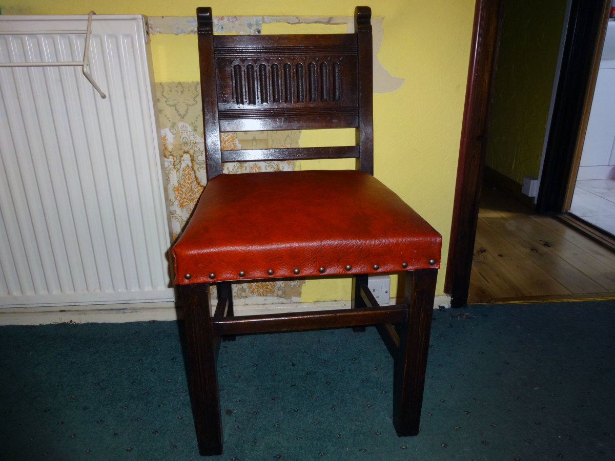 Renovating and Reupholstering a Set of Four Solid Oak Carved Back Chairs