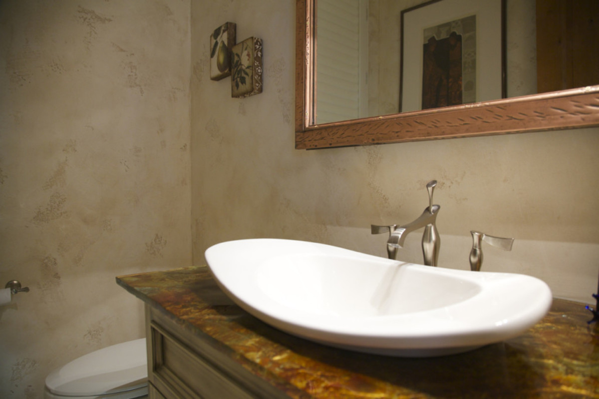 Venetian plaster walls have a subtle sheen and smooth patina that looks like a romantic Italian villa.