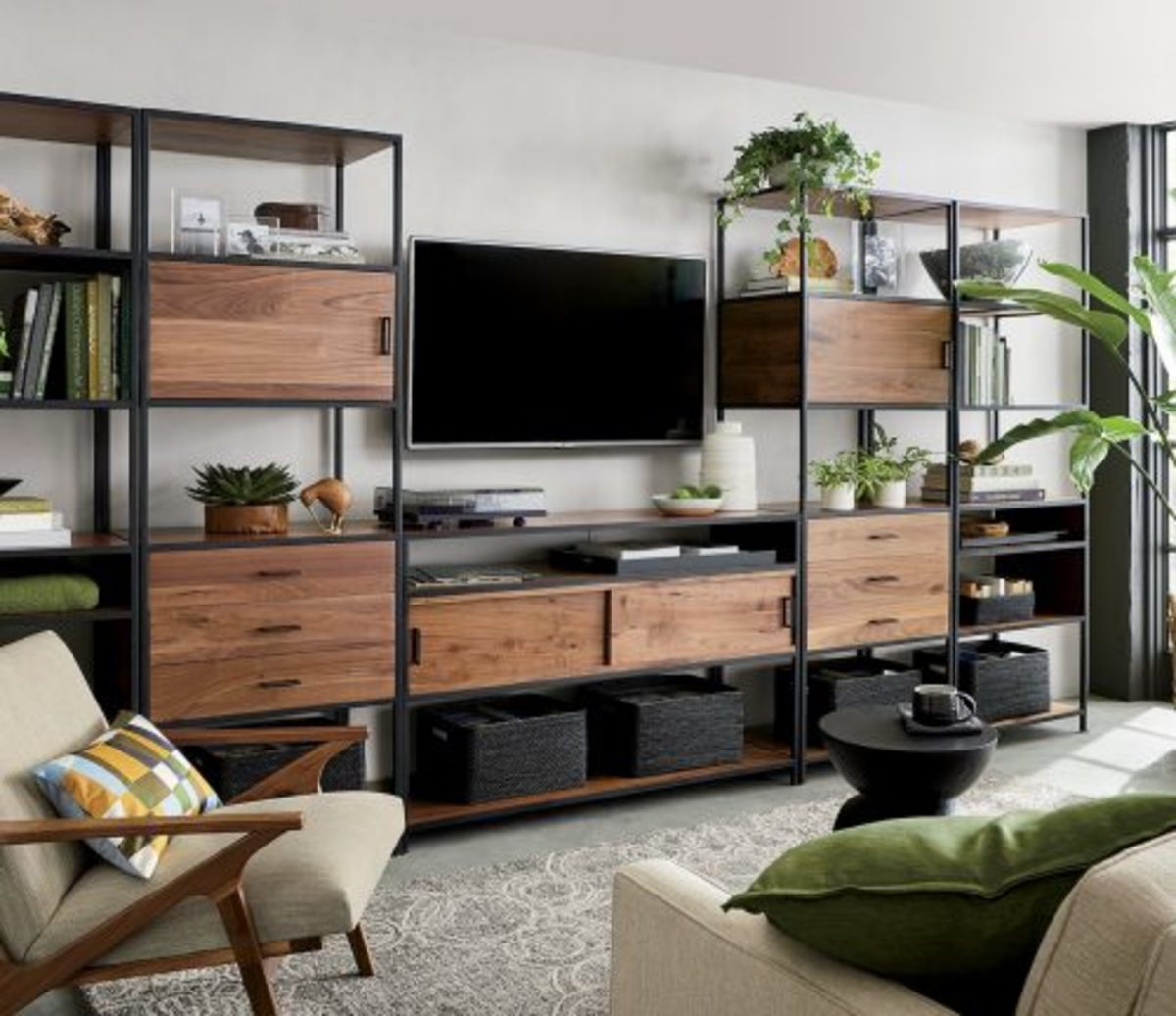 It's a great way to organize everything to hide living room clutter.