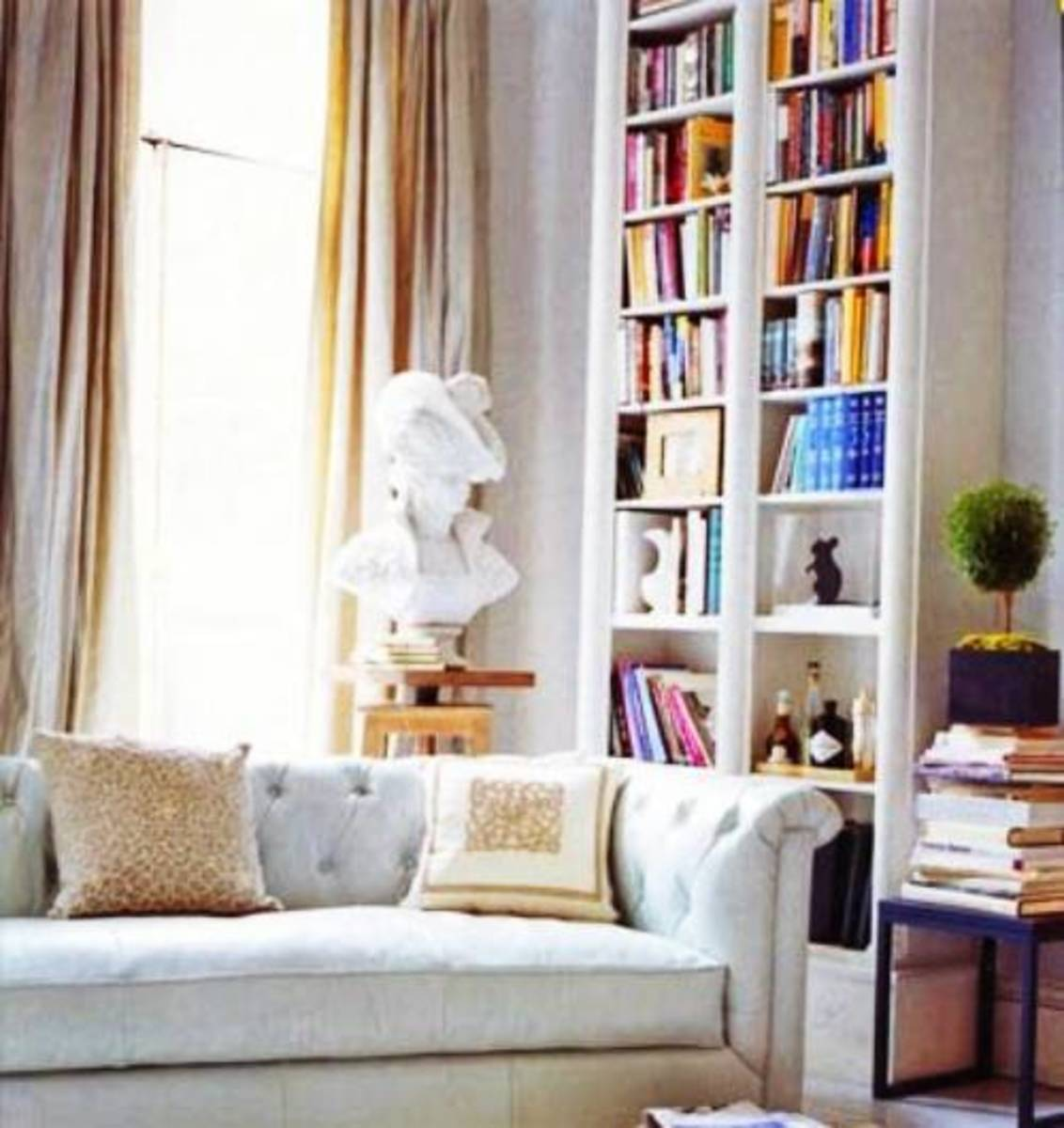Books bring add color and interest in the space.