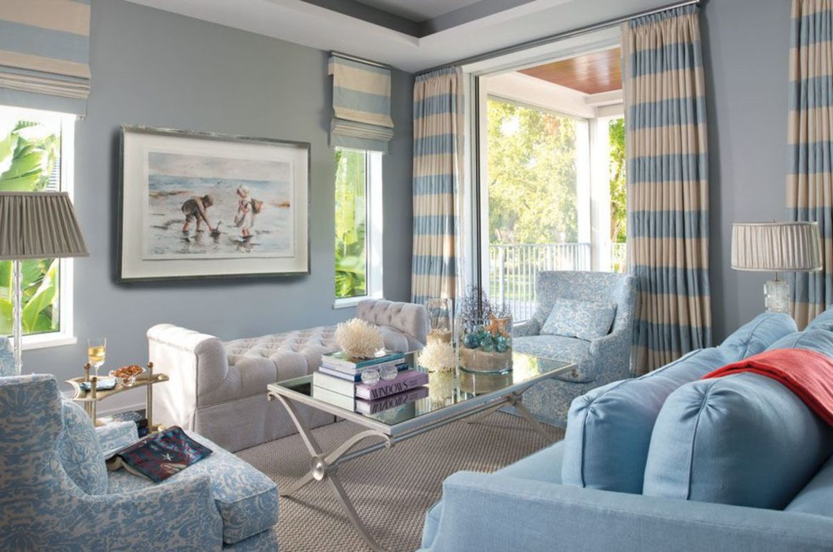 You can create a new mood in the living room by changing from white to blue walls.