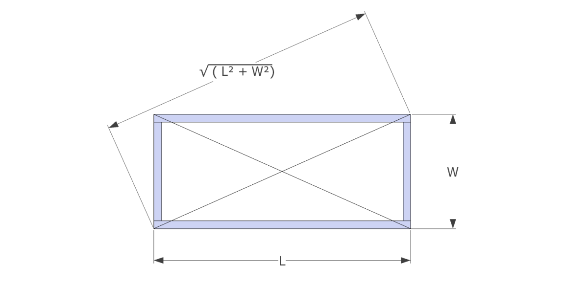 Use Pythagoras' Theorem to calculate the length of the diagonals.