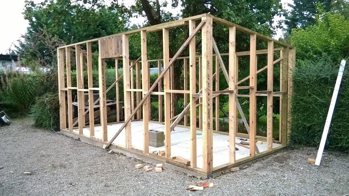All four stud walls in place.