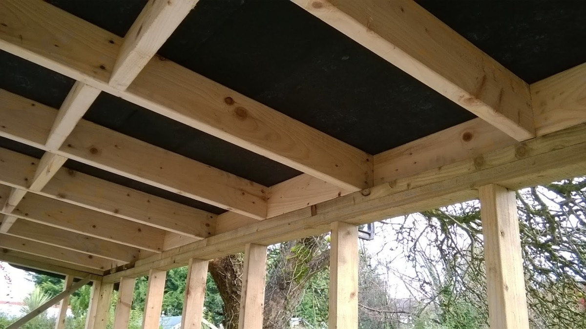 Underlay in place under the cladded roof. This stops condensation and drips during frosty weather.