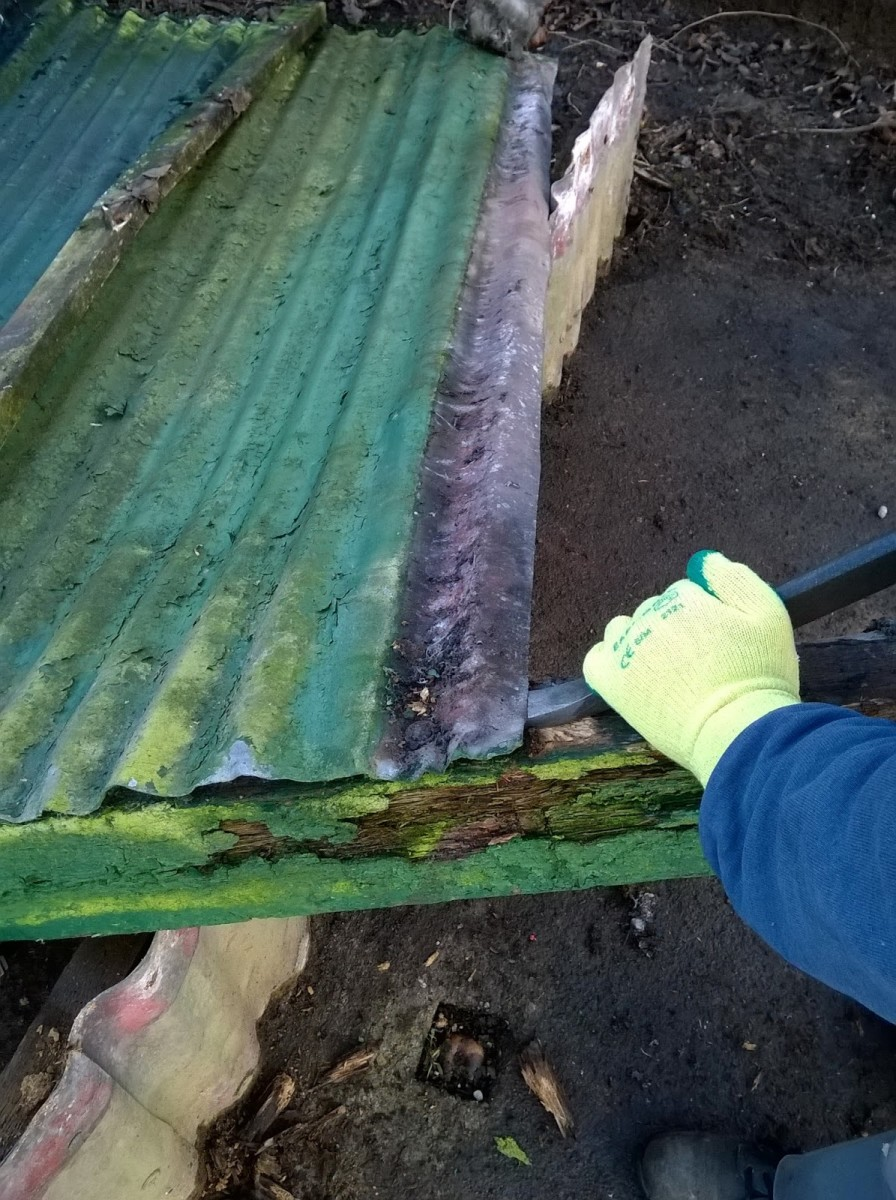 Removing corrugated iron with a pry bar.