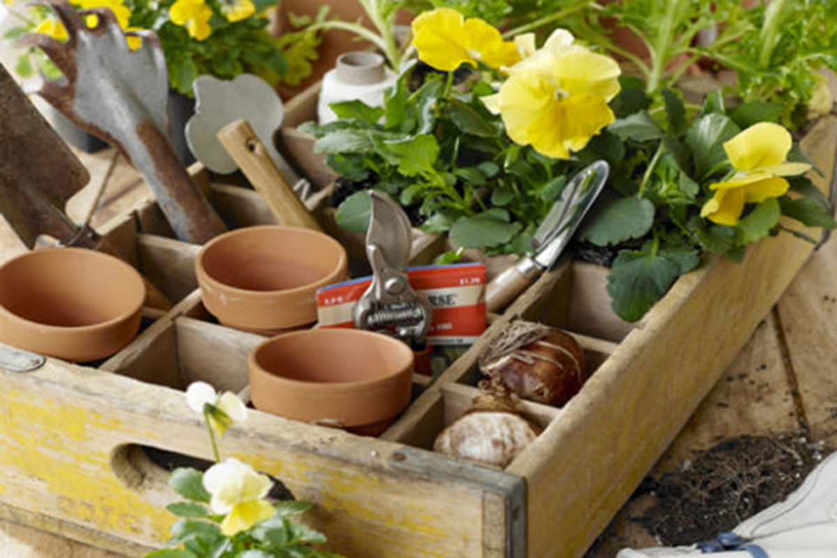 This is inspired by an old wooden cubbie box that was made from a reclaimed soda crate. It is suitable to organize your gardening tools.