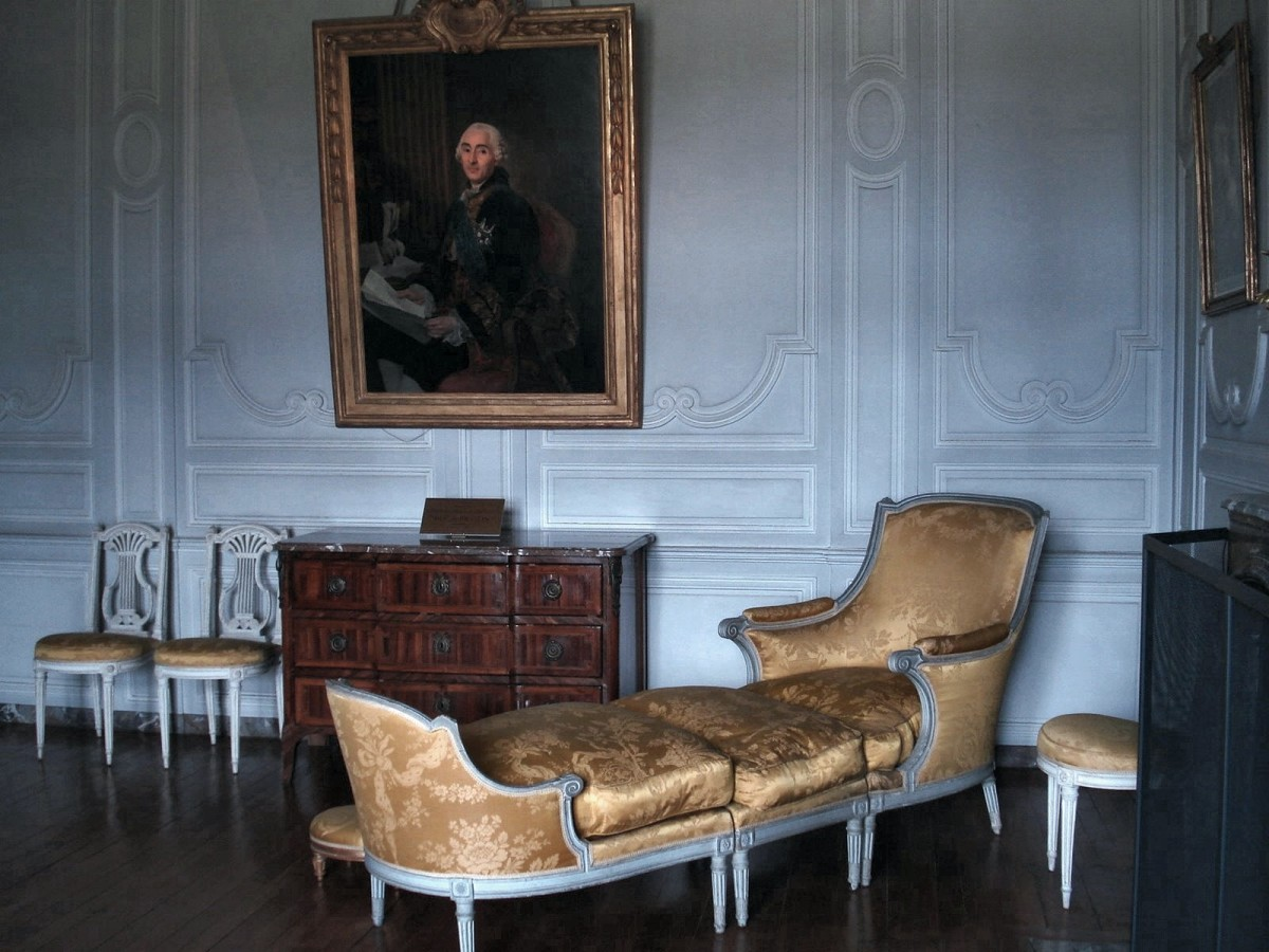 A Duchesse brisée is a chaise longuethat is divided into a chair and a long footstool.