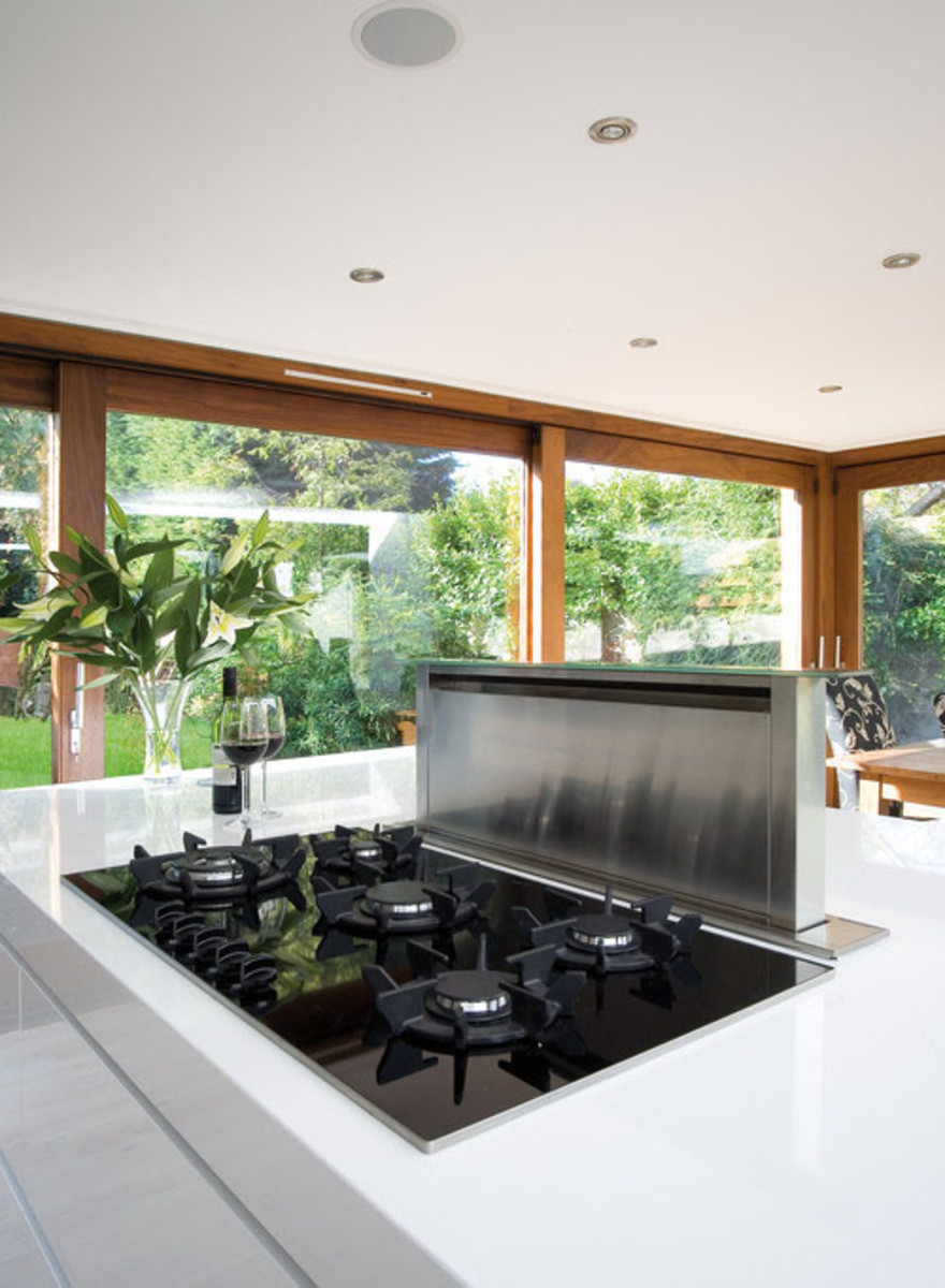 These downdraft stove hoods create an open space on the kitchen island.