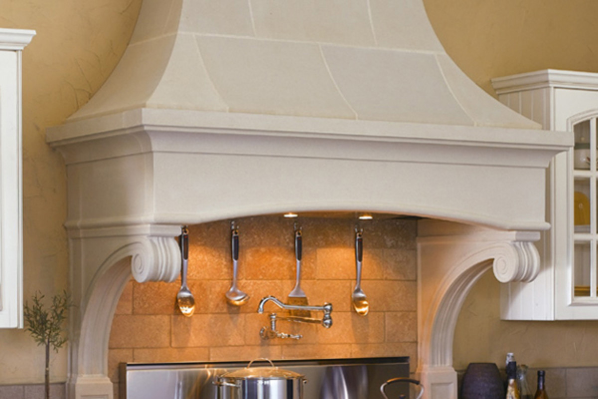 This stone range hood is perfect for a traditional European design.