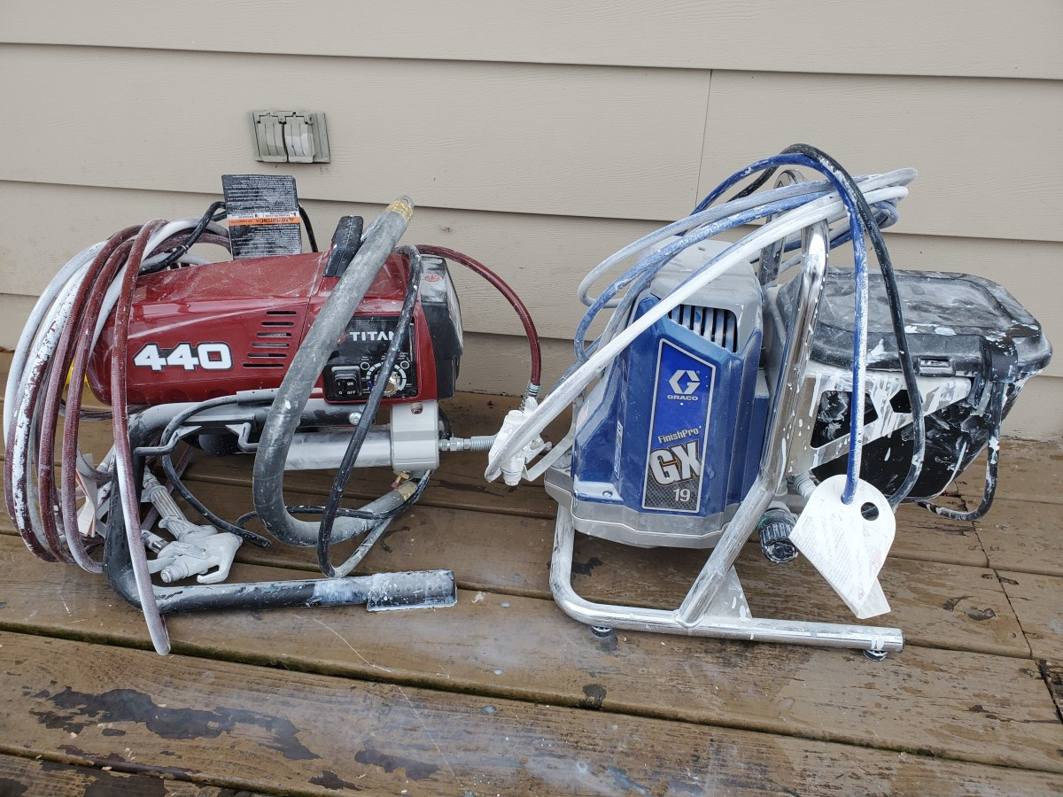 Two of my airless sprayers. Graco and Titan.