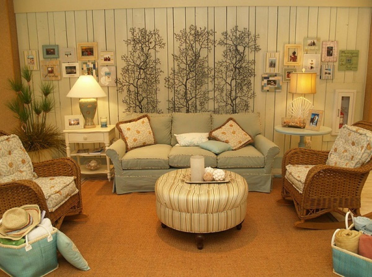 Interior design theme: A simple and beautiful beach home style of a living area.