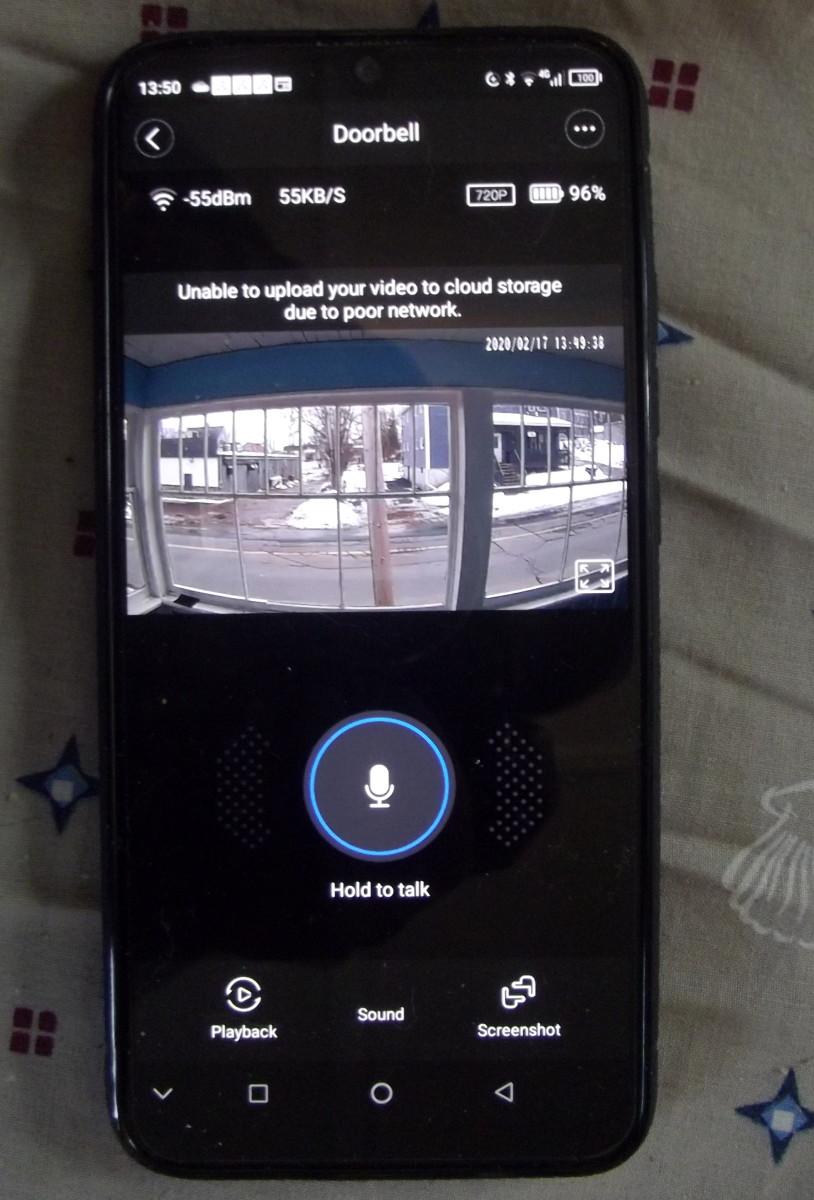 Doorbell screen of LiveHome