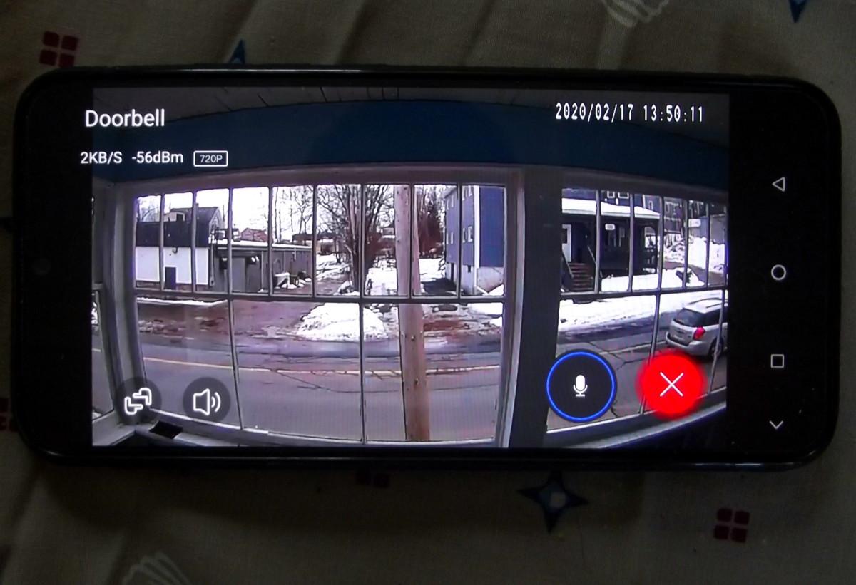 Doorbell camera view in full screen