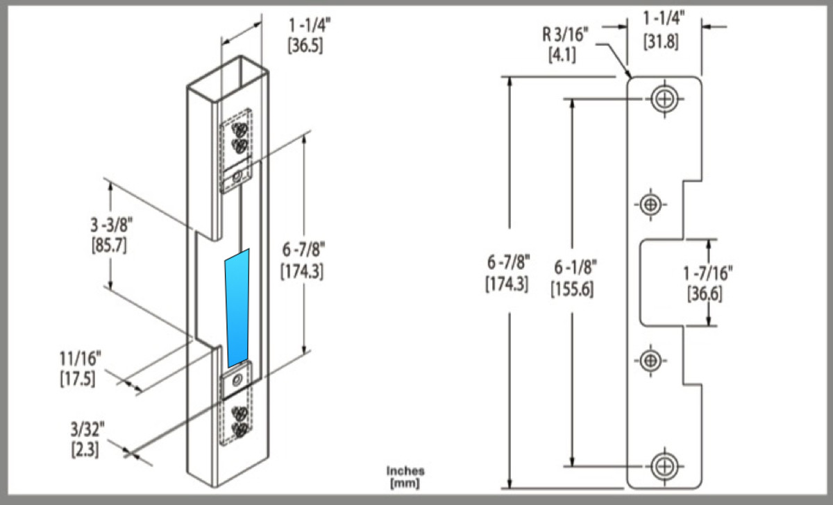 HES 5000 with 503 option face plate frame prep with former location of strike slot for MS1850 deadbolt shown in blue.