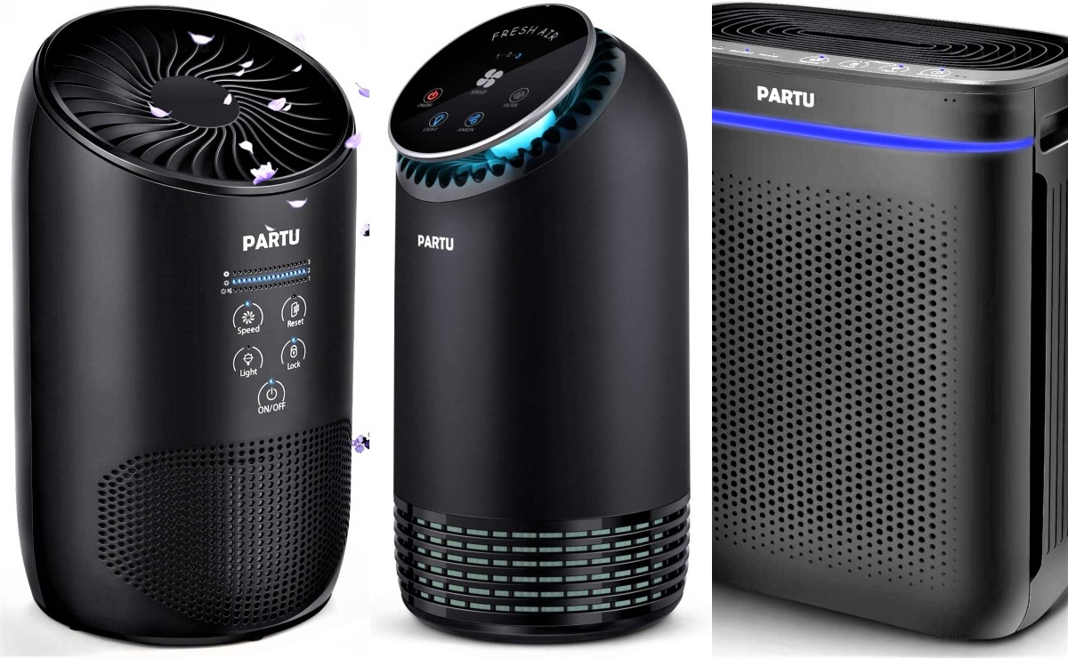 Partu Air Purifiers - Model BS-03 (left) - Model BS-08 (center) - Model BS-10 (right)