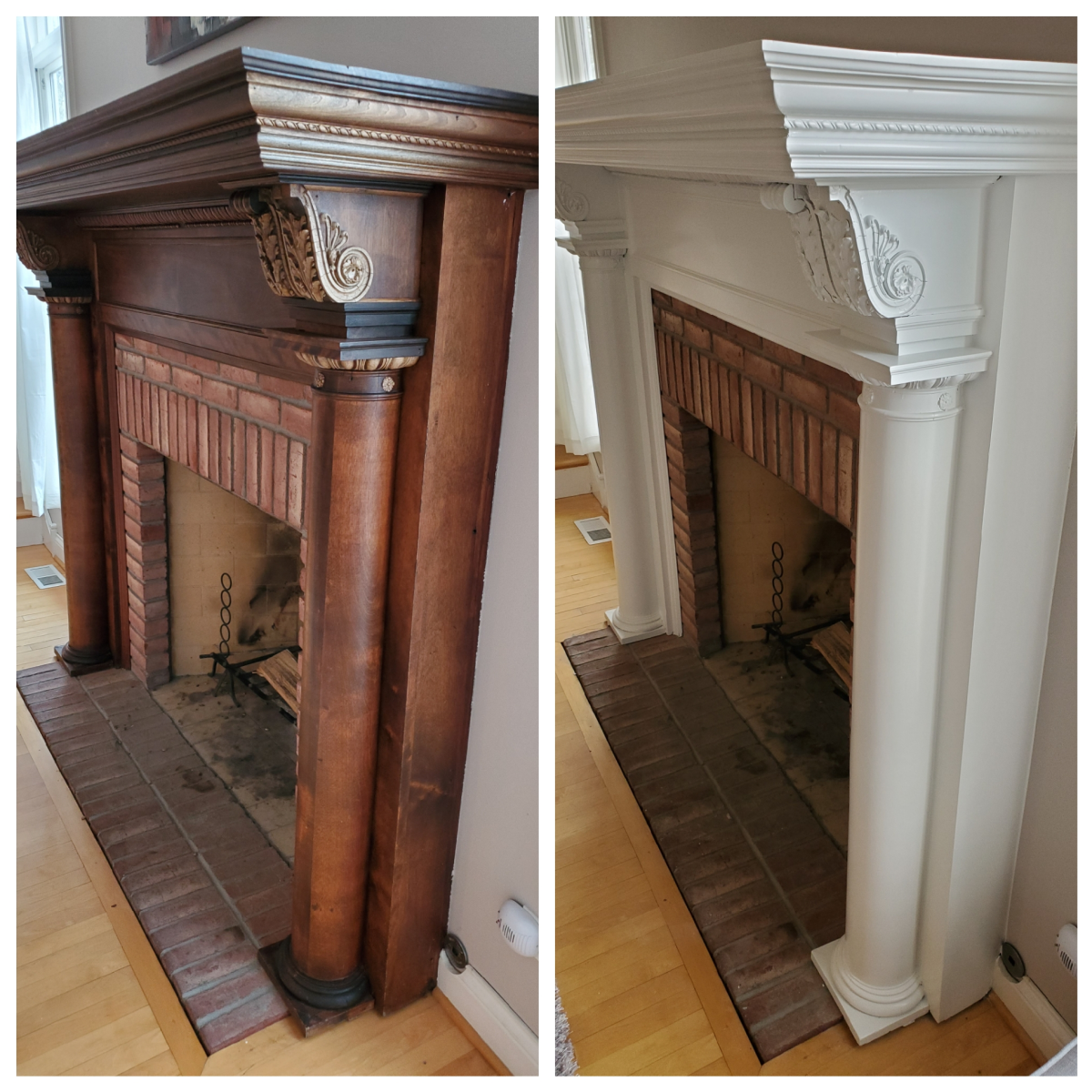 An antique fireplace mantel I spray painted white.