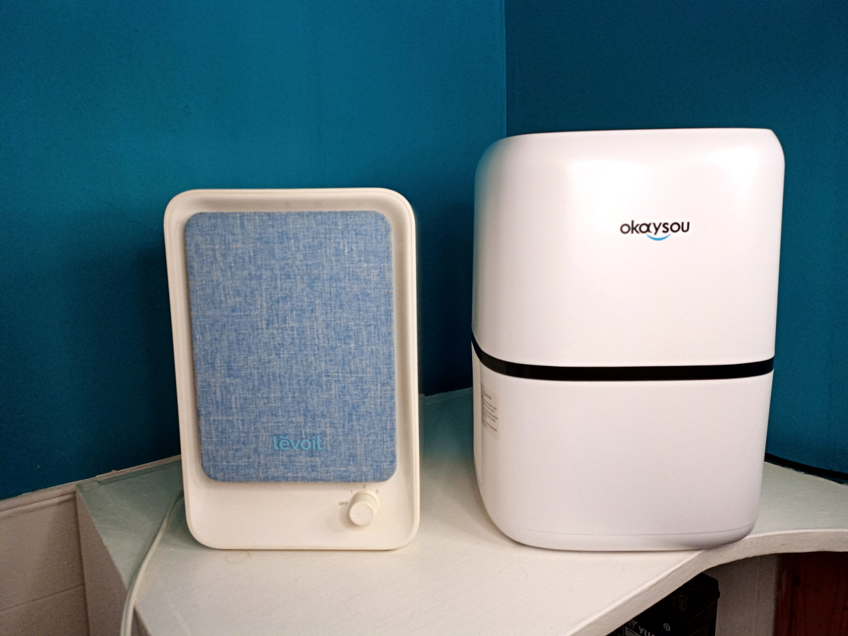 View of Levoit and Okaysou AirMic4S Air Purifiers