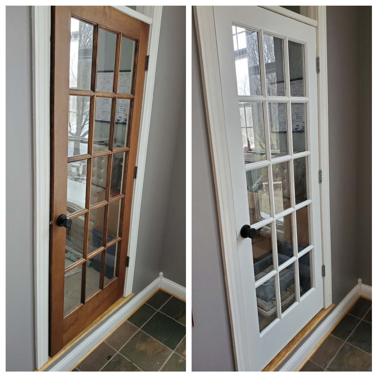 Another french door made of pine that I spray painted white.