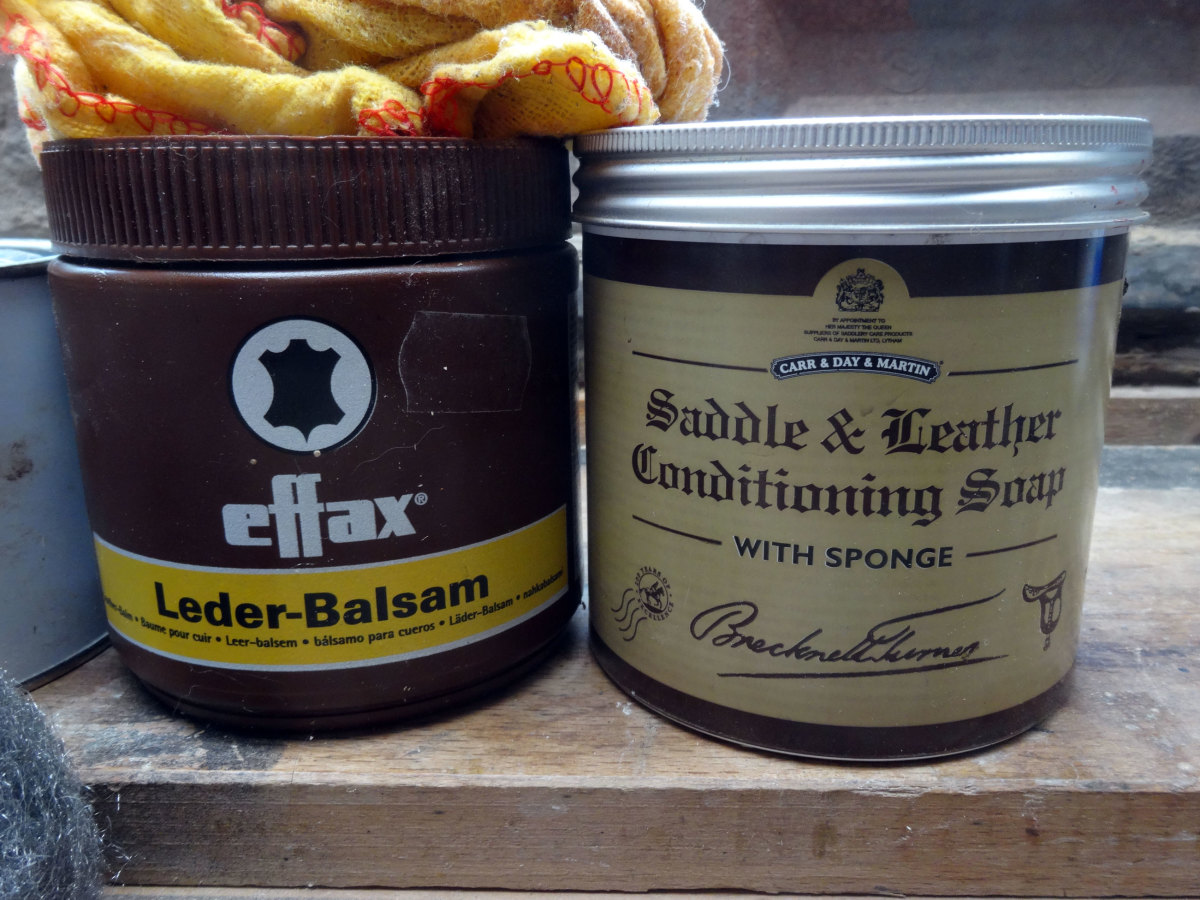 'Leder-Balsam', and a 'Saddle & Leather Conditioning Soap' I use for nourishing and polishing leather.