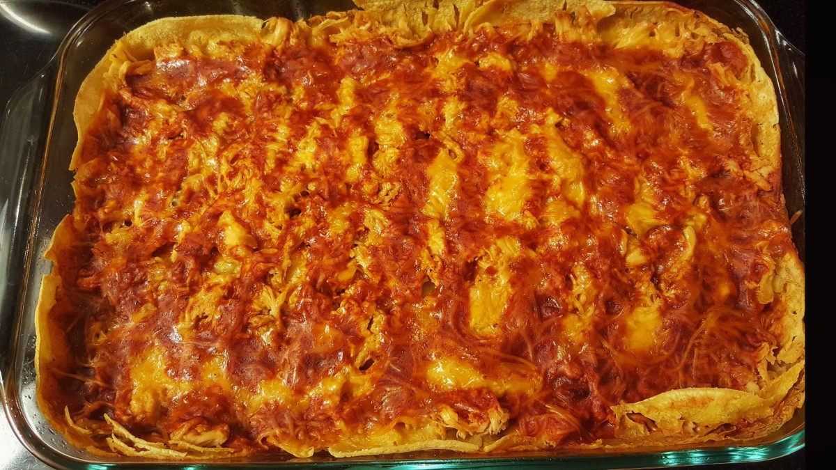 Bake a Shredded Chicken Enchilada Casserole in 3 Easy Steps