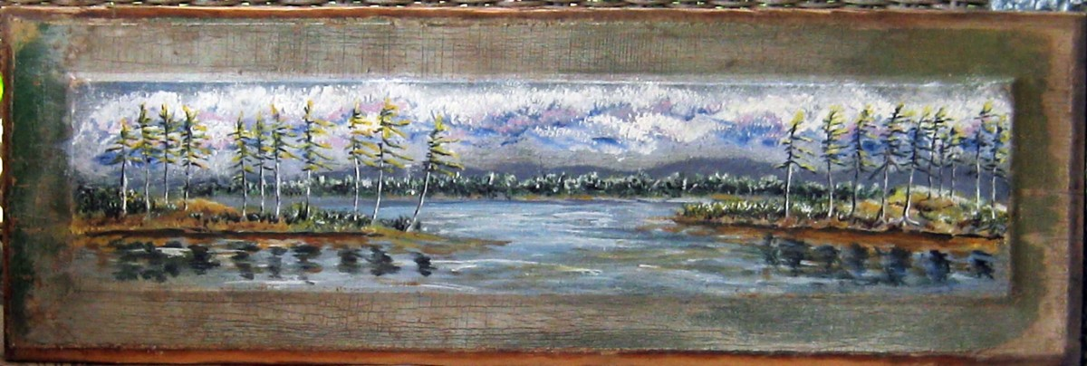 I painted this landscape on a salvaged door panel.