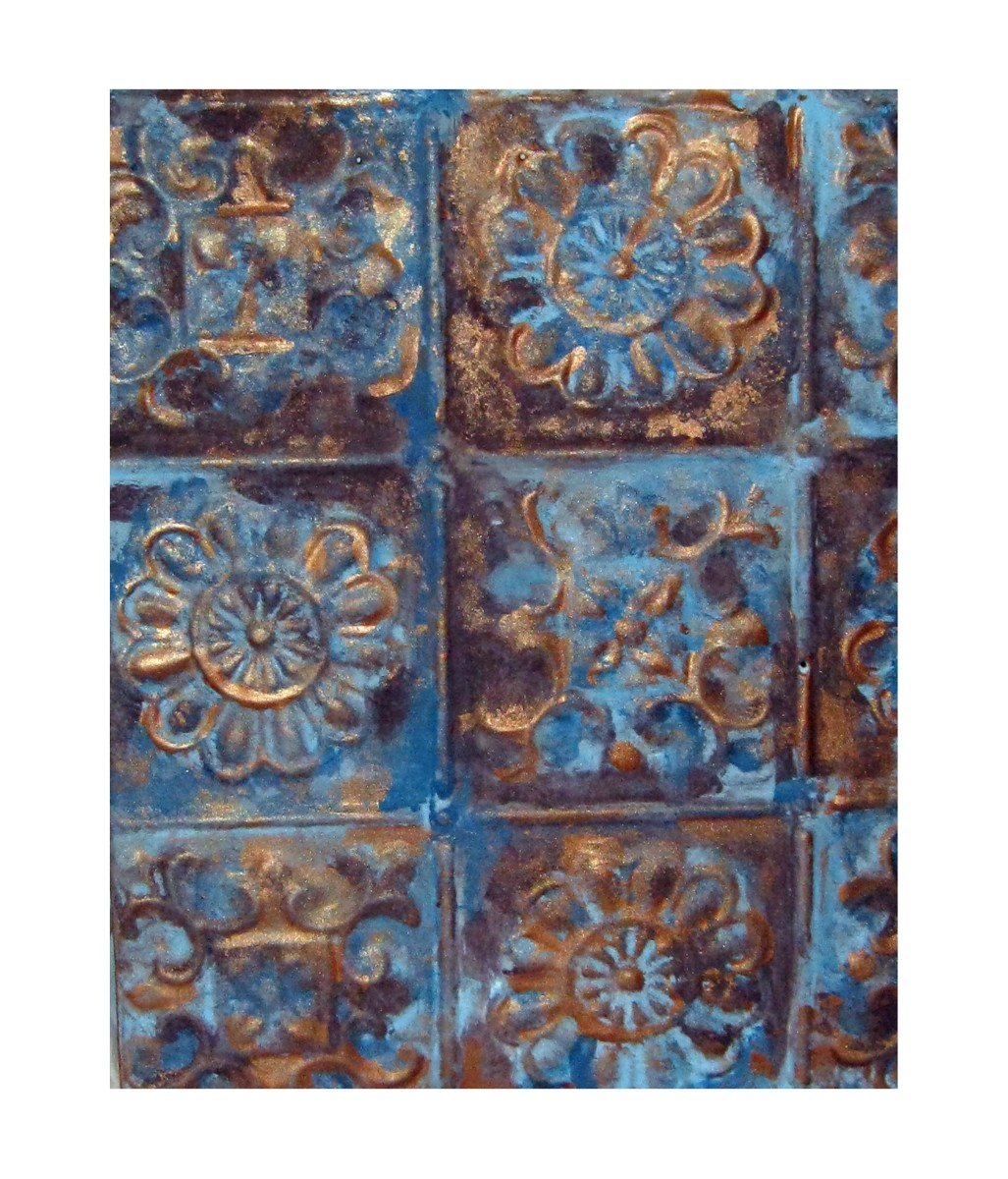 Tin ceiling panel wall hanging.