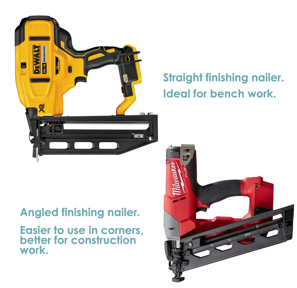 Angled versus straight finish nail guns.