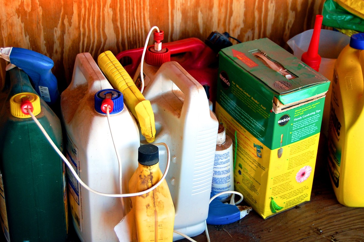 Pesticides, fertliizers, cleansers, and other products containing dangerous chemicals should be stored carefully and kept out of reach of children and pets.