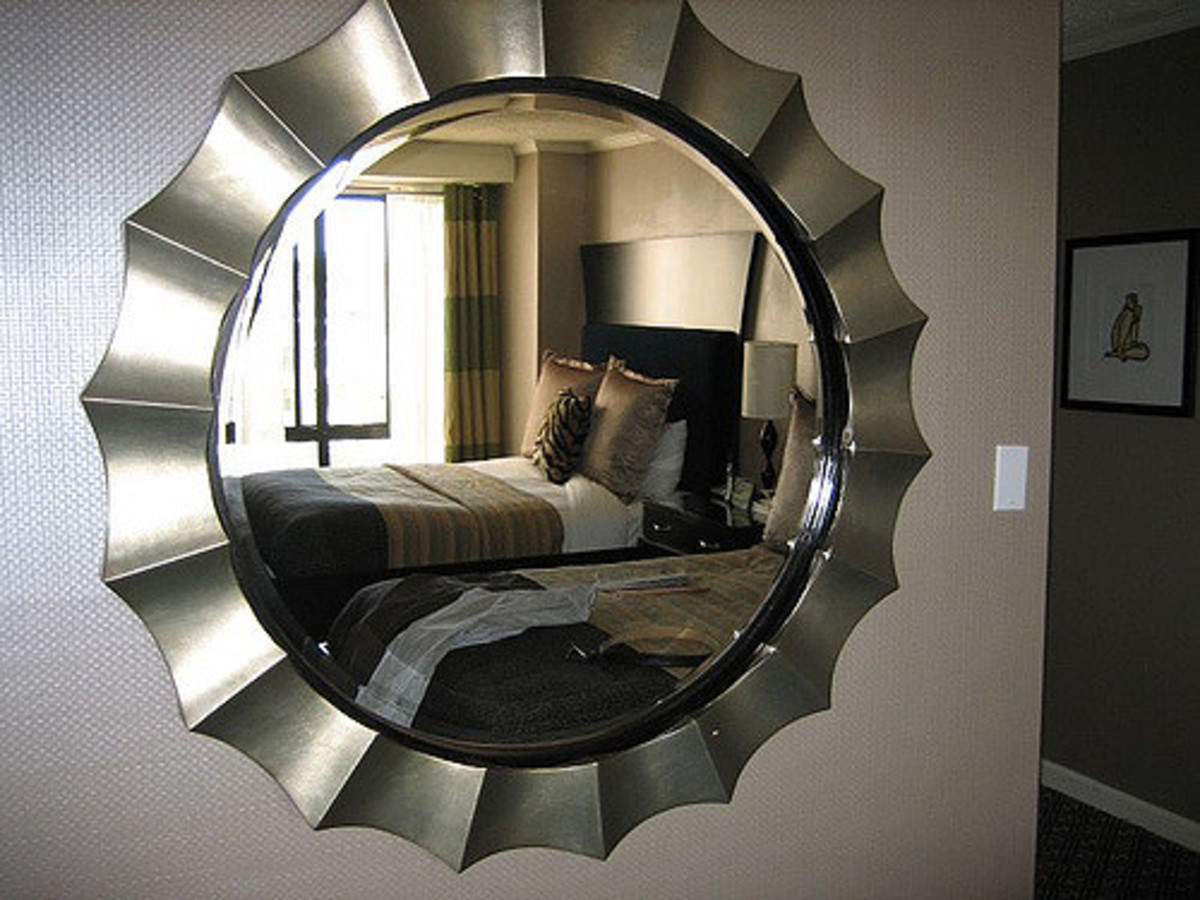 A wall mirror can give a small room the illusion of space.