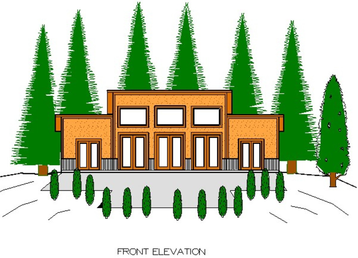 Pole barn house plan front elevation.