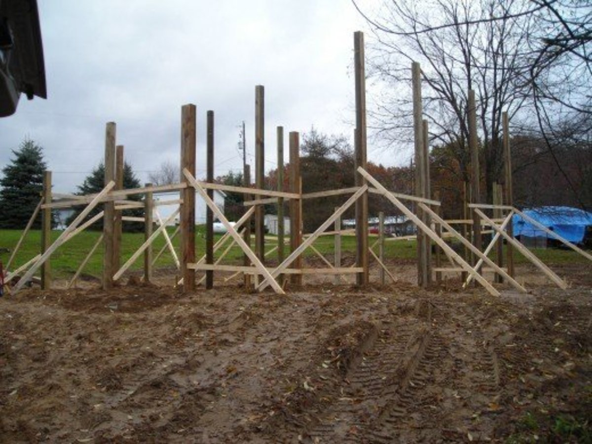 Pole building frame and foundation.