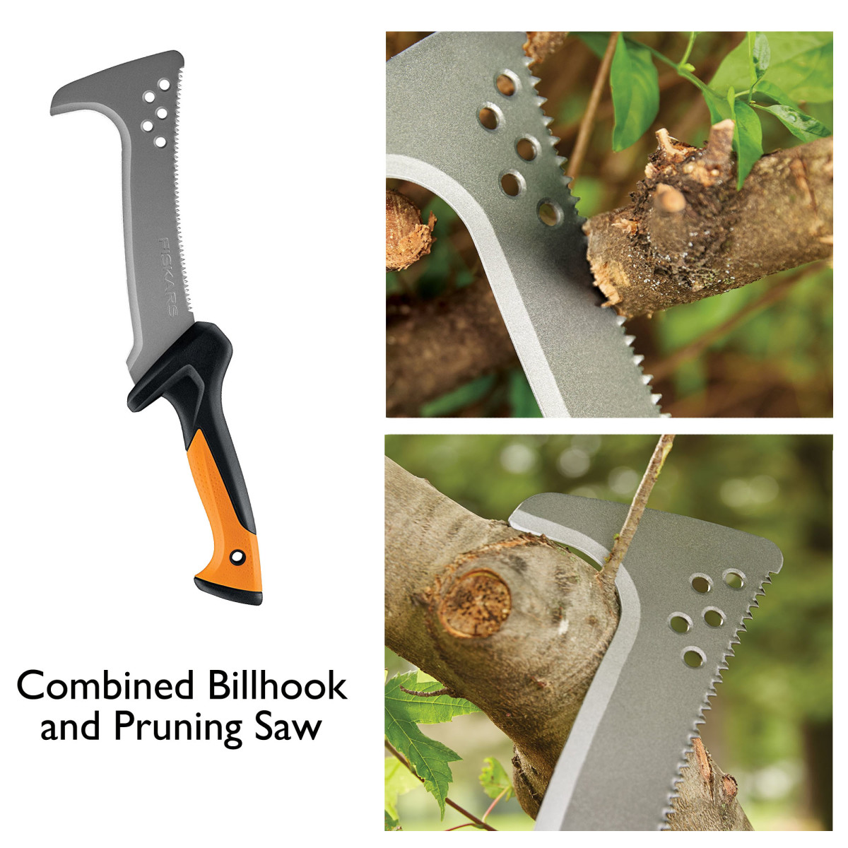 Combined billhook and saw.