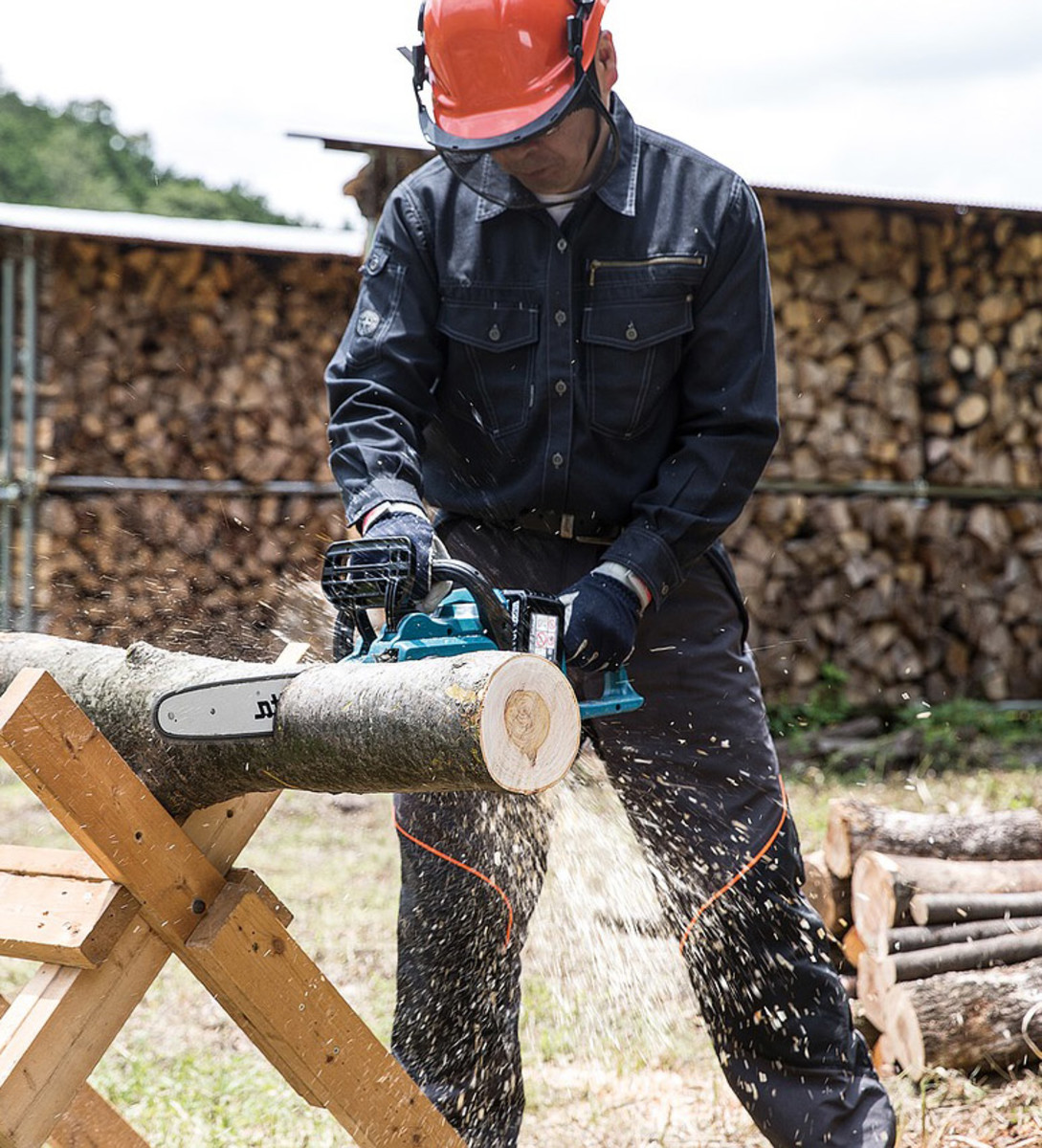 Chainsaws make quick work of cutting logs, as well as tree felling.