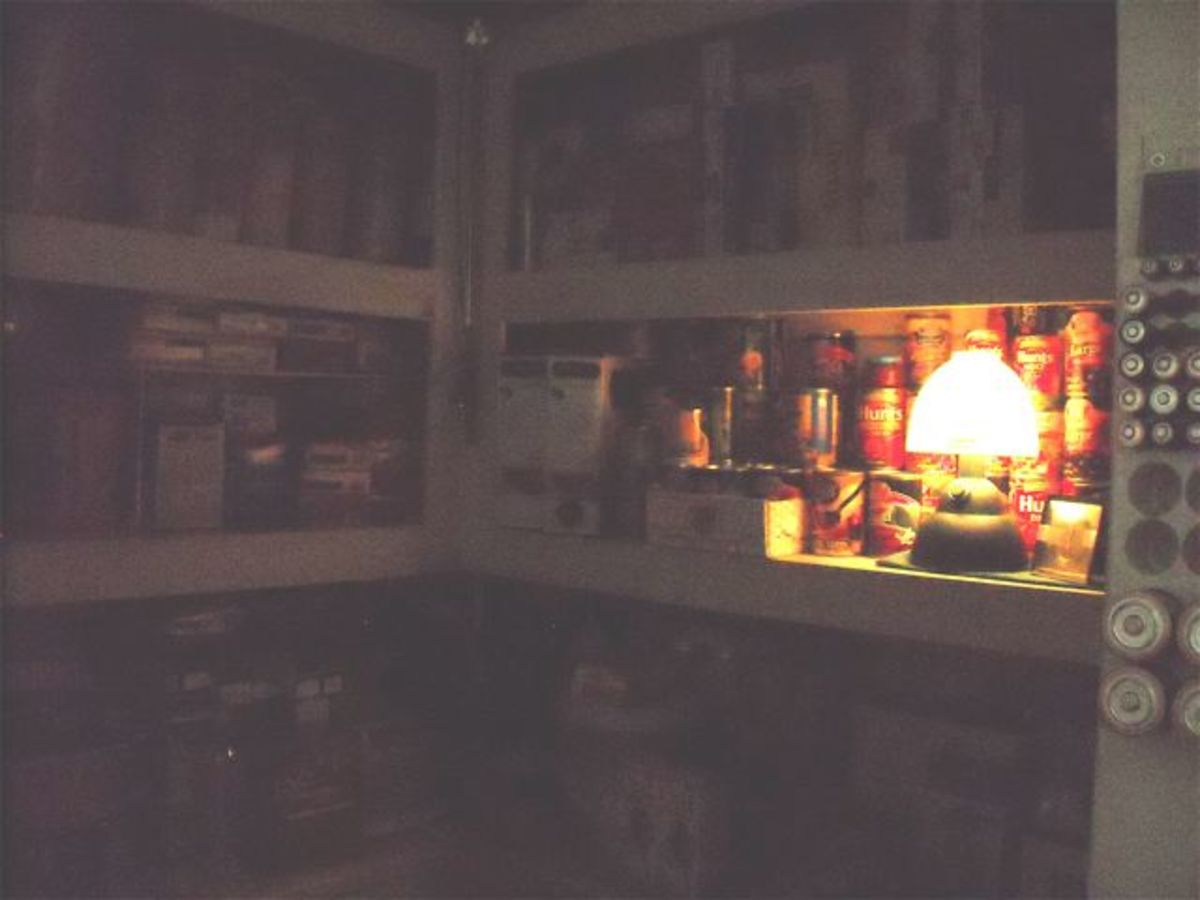 A battery lantern is helpful for finding your supplies, foodstuffs and batteries.