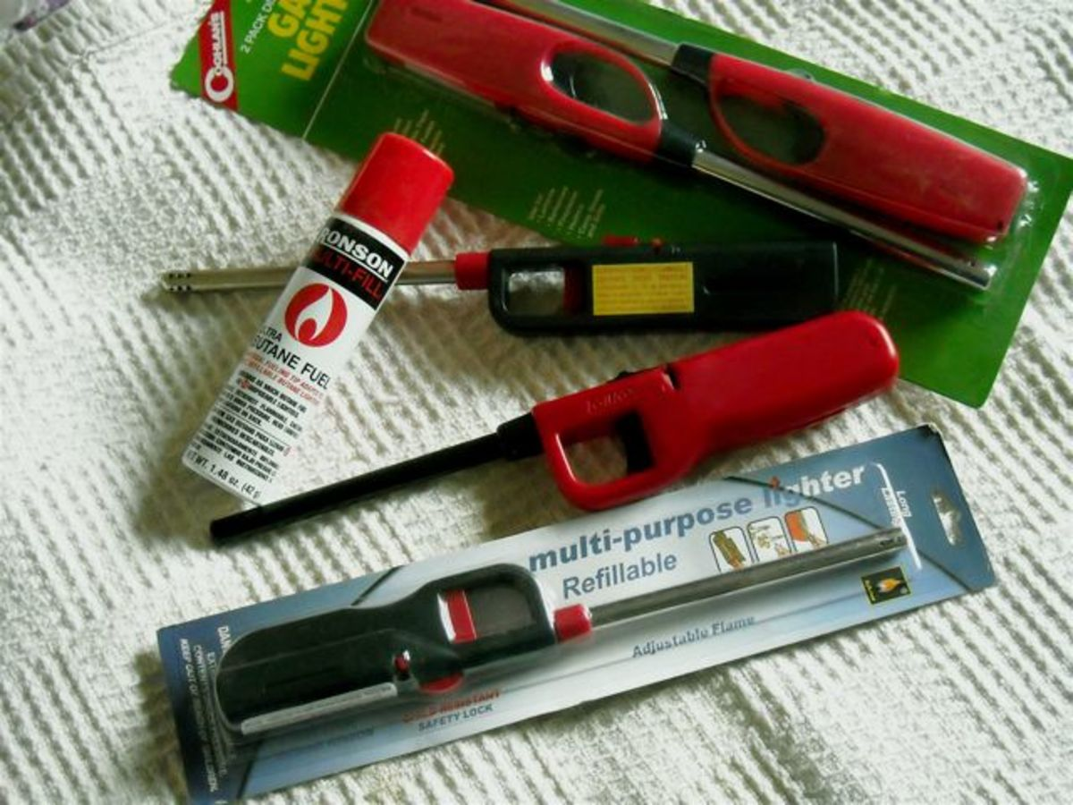 Butane wand lighters are easy to use. The refillable ones are most economical.