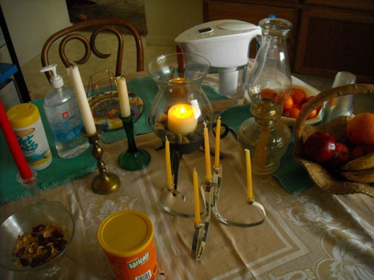 Candle holders, kerosene lamp, filter pitcher and a few miscellaneous items to keep handy.