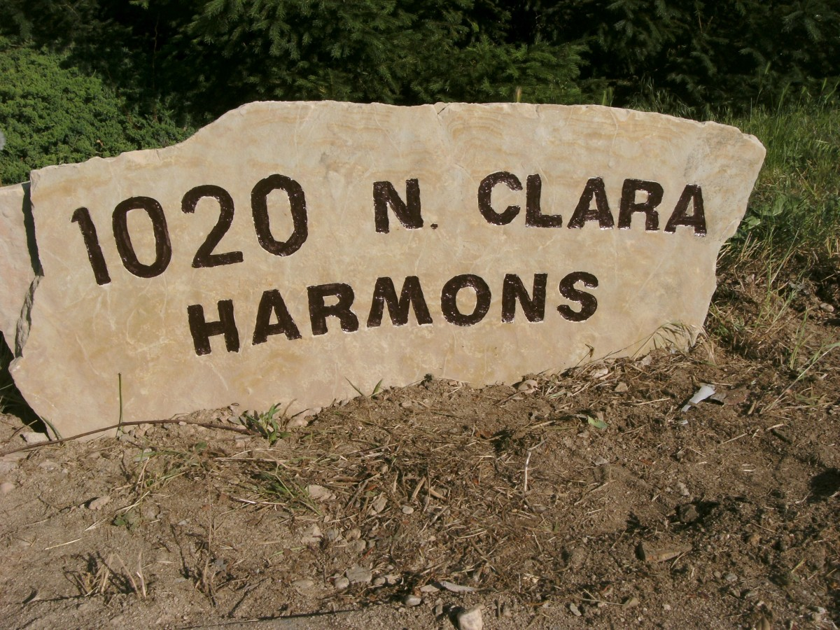 Completed stone sign, set into place