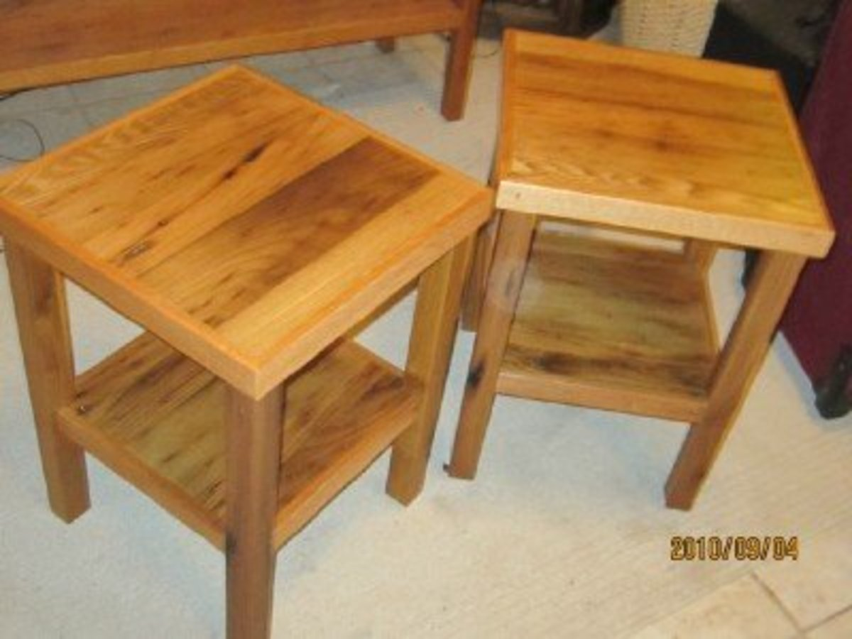 These quaint rustic end tables were made from the reclaimed wormy chestnut found in a centuries-old farm home.