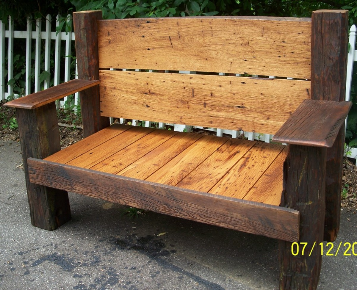 This American wormy chestnut bench now sits proudly on a homestead in North Carolina.