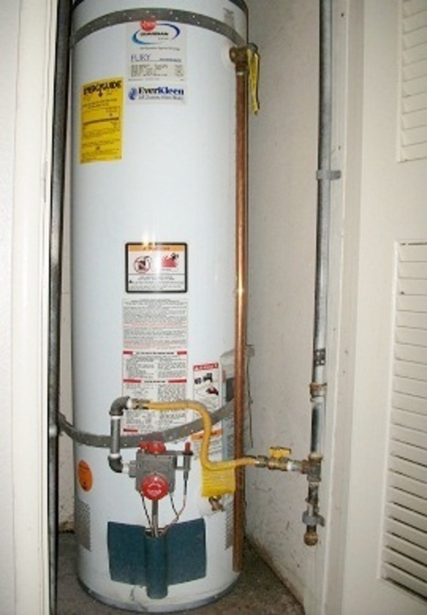 A tank water heater.