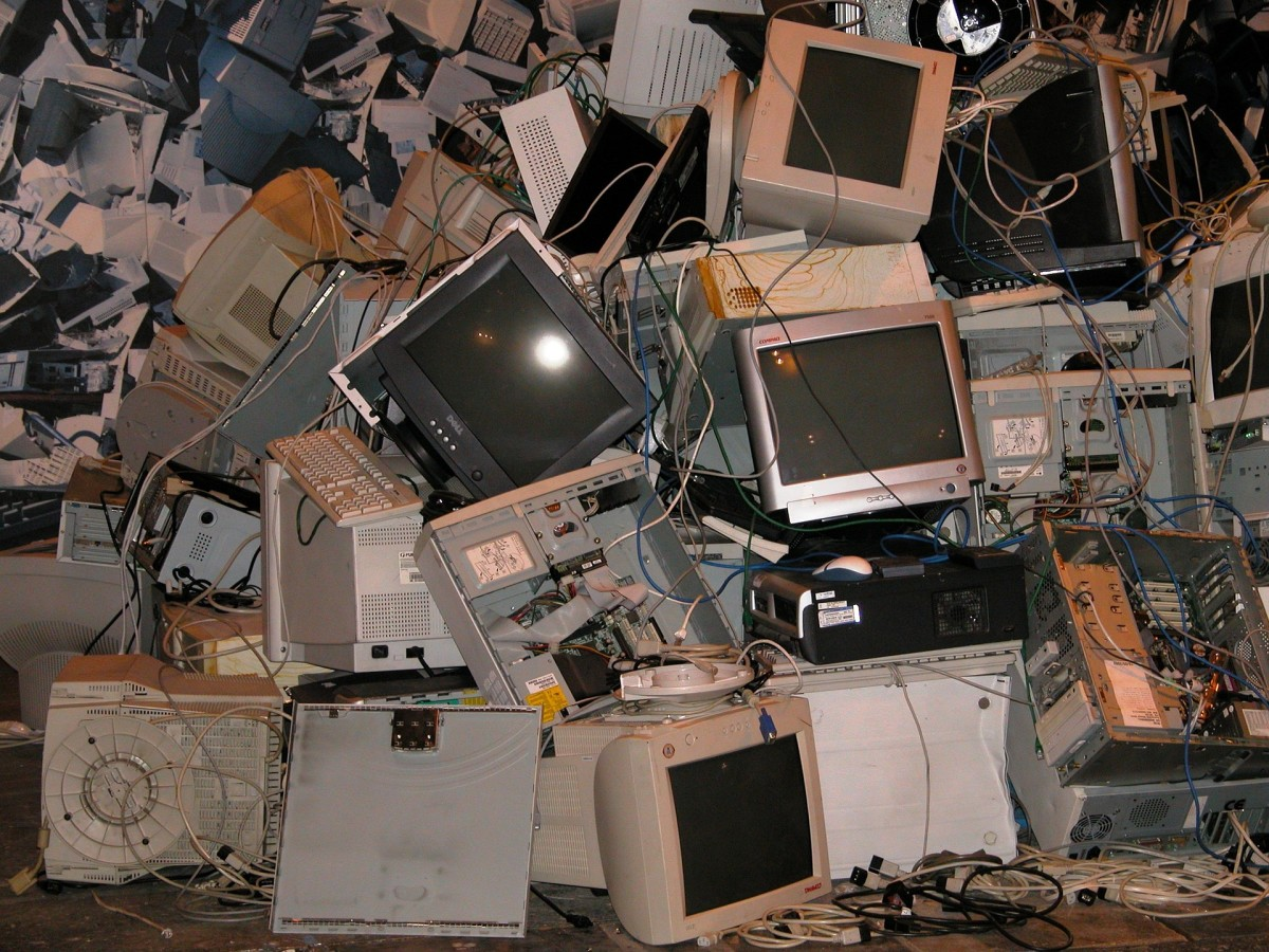 You probably don't have this much e-waste, but local schools and libraries—as well as various charities—might still be in need of your older computers and electronics that you no longer use.