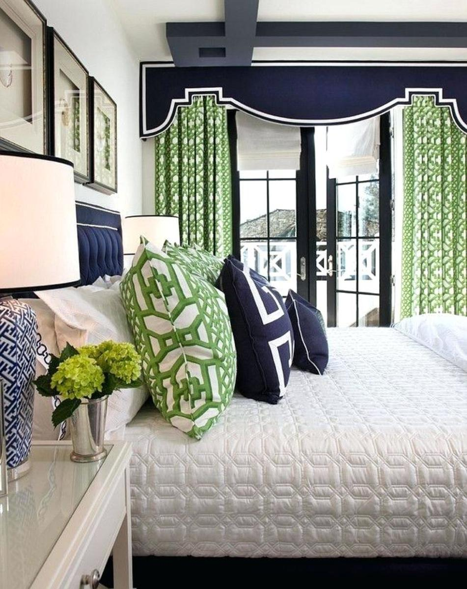 White, Green, and Navy Blue Bedroom