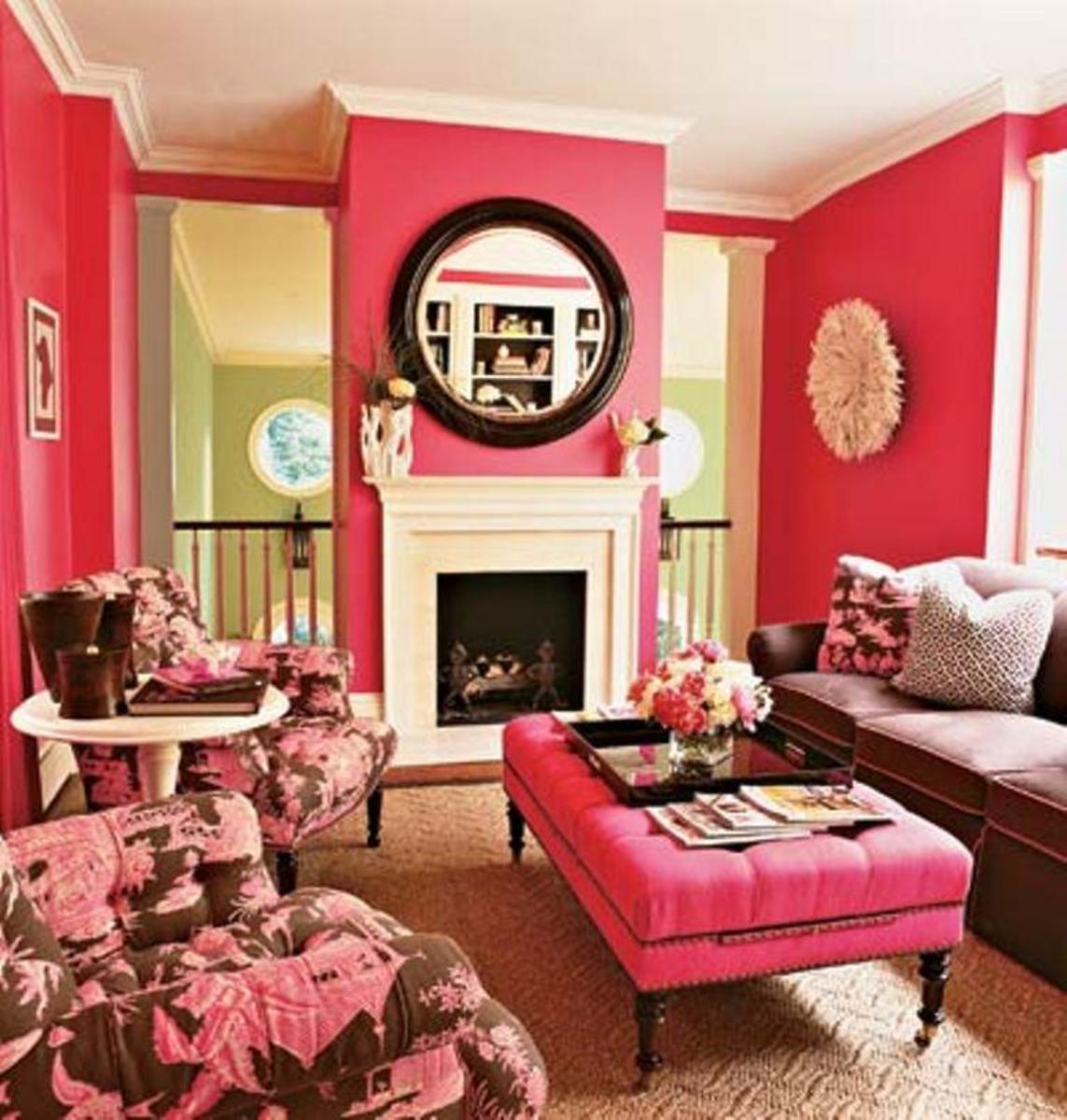 Sophisticated Living Room in Pink