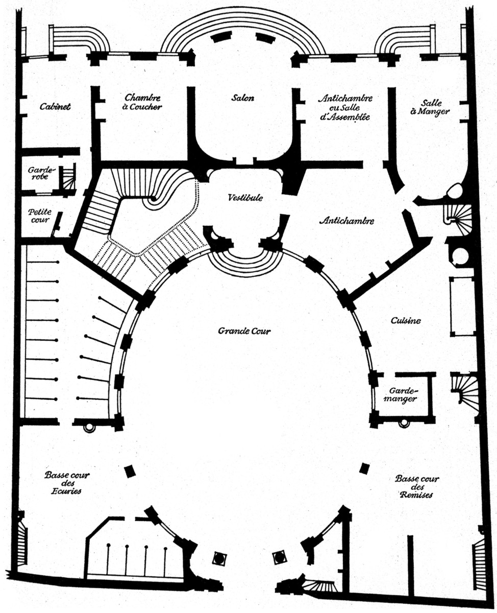Plan, Ground Floor, Hotel Amelot de Gournay