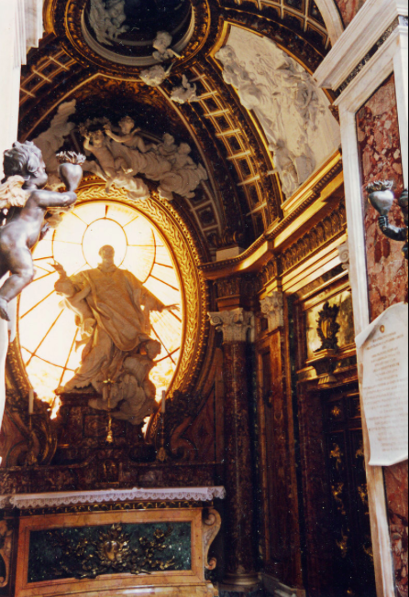 Baroque style lighting and design in a chapel at the San Girolamo della Carità church in Rome