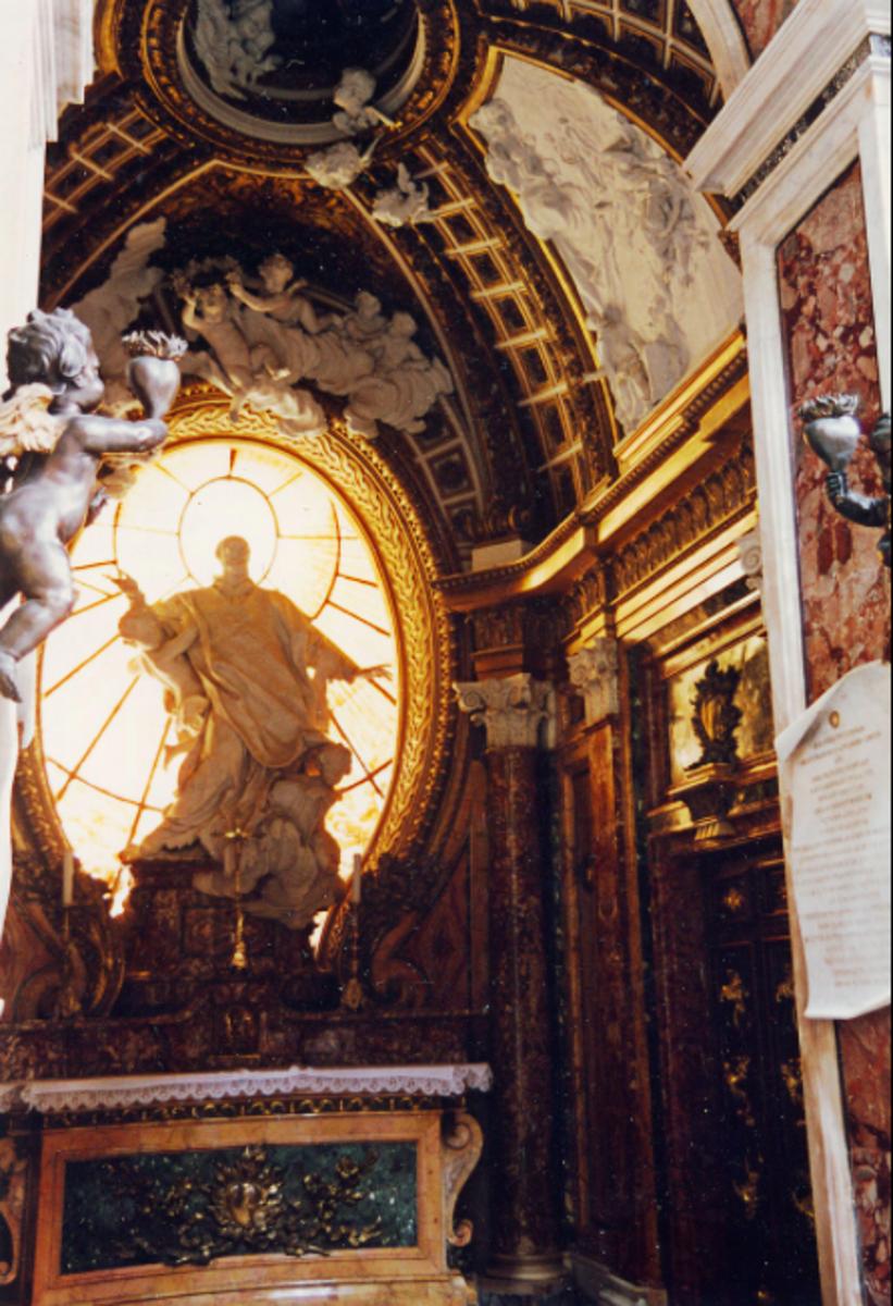 Baroque style lighting and design in a chapel at the San Girolamo della Carità church in Rome