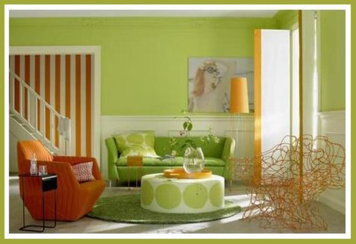 Diy bedroom living room decorating ideas for lime green for Orange and yellow living room ideas