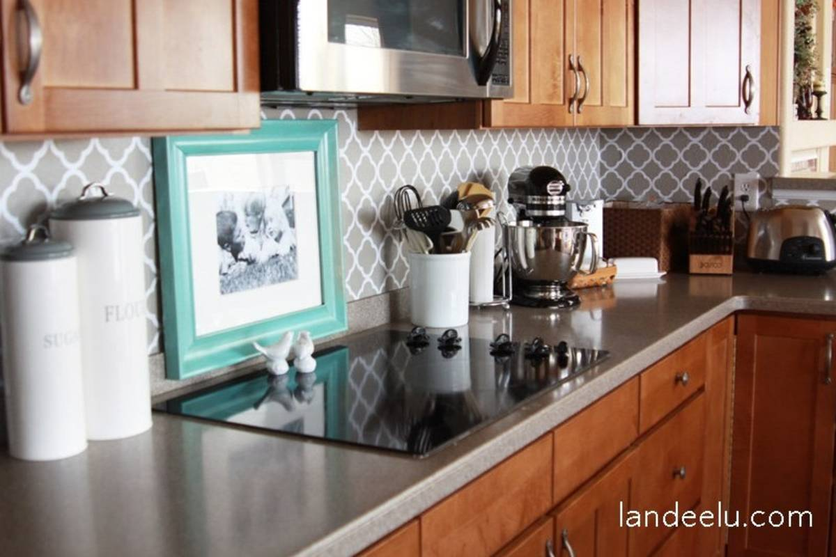 This vinyl contact paper looks very nice for the kitchen backsplash.